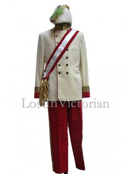 19th Century Gentleman's Military Uniform Suit (Jacket & Trousers & Body Sash)