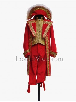 19th Century Red Victorian Frock Coat & Waistcoat & Trousers Men's Suit