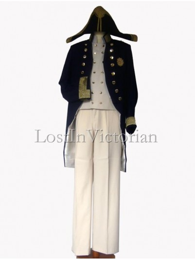 19th Century Navy Blue British Military Coat & Waistcoat & Trousers Men's Suit