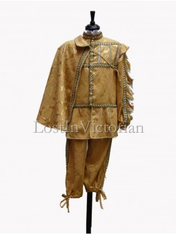 16th Century Men's Gold Renaissance Suit (Jacket & Breeches & Cloak)