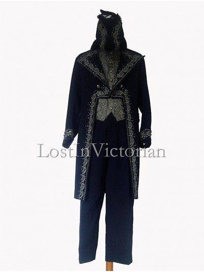 19th Century Blue Long Victorian Frock Coat & Waistcoat & Trousers Men's Suit