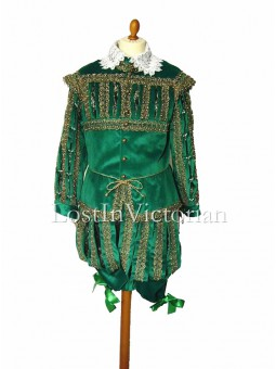 16th Century Gentleman's Green Renaissance Suit (Jacket & Breeches)