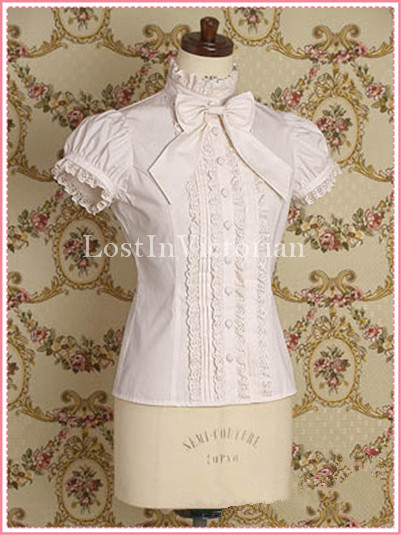 Short Sleeves White Lolita Blouse