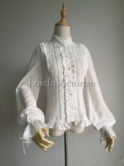 Chinese Traditonal Style Drawnstring Long Sleeves Stand Collar Chiffon Lolita Blouse