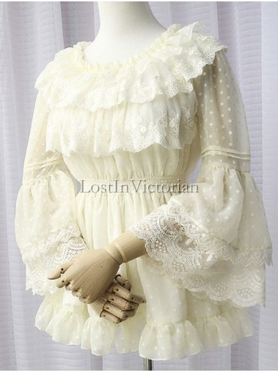 Sweet Garden Style Hime Sleeves Dotted Chiffon and Lace Lolita Blouse