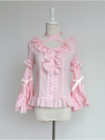 *Neverland* Fairy Detachable Hime Sleeves Halter Neck Chiffon Lolita Blouse
