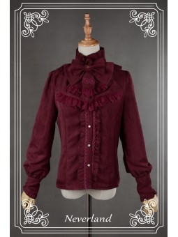 *Neverland* Retro High Neck Lolita Velveteen Winter Blouse