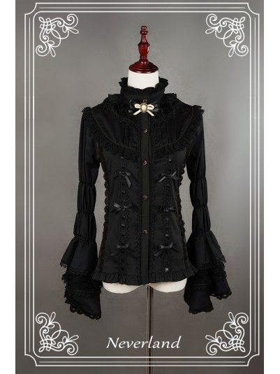 *Neverland* Gorgeous Dracula Series Hime Sleeves Cotton & Lace Gothic Lolita Blouse