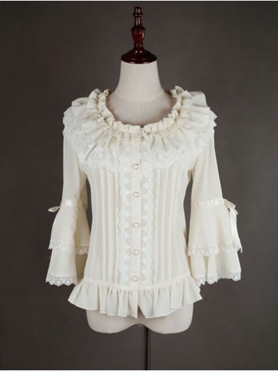 *Neverland* Sweet Flare Sleeves Chiffon & Lace Lolita Blouse