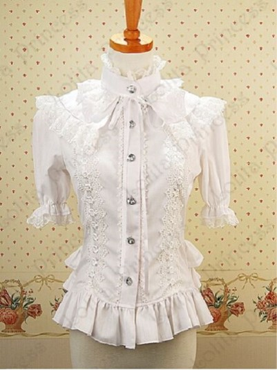 *LOLITA PRINCESS* Ladies White Cotton and Lace Detachable Long Sleeves Princess Blouse