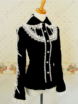 *LOLITA PRINCESS* Elegant Black Cotton and Lace Princess Blouse