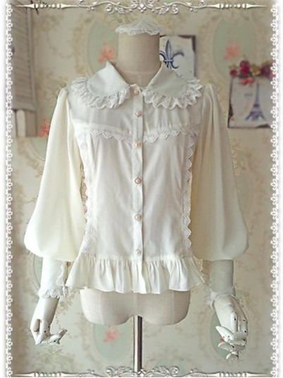 *Infanta* Sweet Doll Collar Bishop Sleeves Chiffon Lolita Blouse