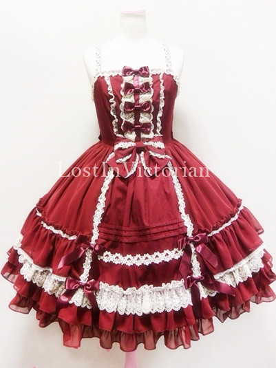 Girls Spaghetti Straps JSK Sweet Lolita Dress Prom Dress