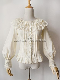 Imitation Linen Bishop Sleeves Lolita Blouse