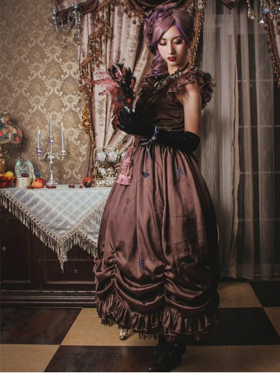 *Classical Puppets* Elisabeth Elegy One Piece Vintage Brown Long Dress