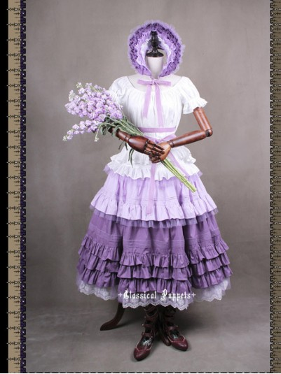 *Classical Puppets* Victorian Maiden Violet Four Piece Set Long Dress