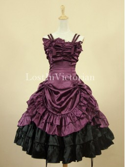 Vintage Purple Victorian Lolita Dress Prom Tea Party Dress