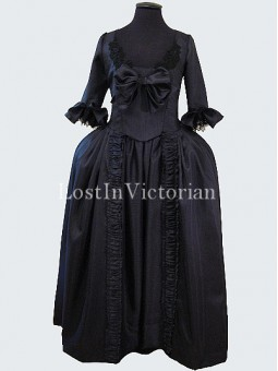 Historical 18th Century Marie Antoinette Inspired Gothic Dress Evening Gown BLACK