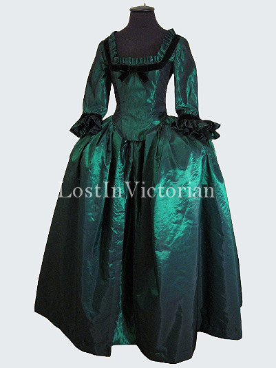 Dark Green 18th Century Marie Antoinette Period Dress Ball Gown Reenactment Clothing