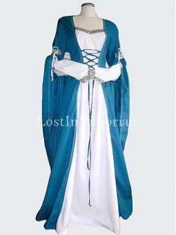 Teal Blue and White Medieval Period Dress Wedding Gown Renaissance Faire Clothing