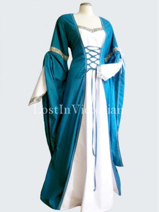 teal blue and white medieval period dress wedding gown