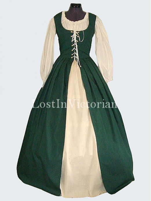Middle Ages Medieval Peasant Period Dress Renaissance Faire Ladies Costume : medieval peasant girl costume  - Germanpascual.Com