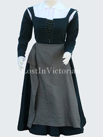 Historical Medieval Maid Costume Dress Renaissance Faire Ladies Outfit