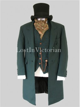 Men's Dark Green Victorian Edwardian Coat Jacket and Vest