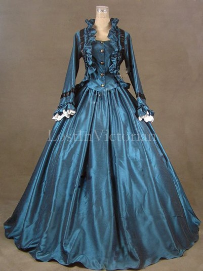 Historical 19th Century Victorian Civil War Period Dress Theatre Reenactment Clothing TEAL