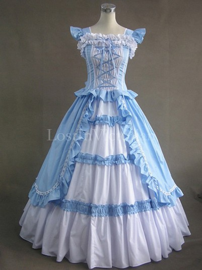 Blue and White Cotton Victorian Ball Gown Tea Party Vintage Wedding Bridesmaid Dress