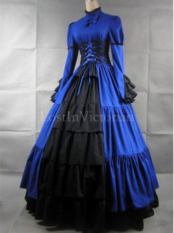 Blue and Black Victorian Inspired Dress Masquerade Gothic Ball Gowns Halloween Costume