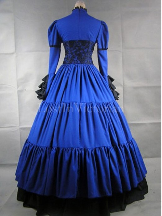 Blue and Black Victorian Inspired Dress Masquerade Gothic Ball Gowns ...