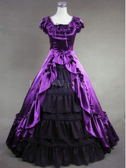 Purple and Black Colonial Inspired Victorian Dress Masquerade Gothic Ball Gown