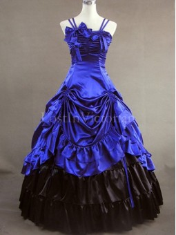 Blue and Black Victorian Inspired Dress Masquerade Gothic Ball Gowns