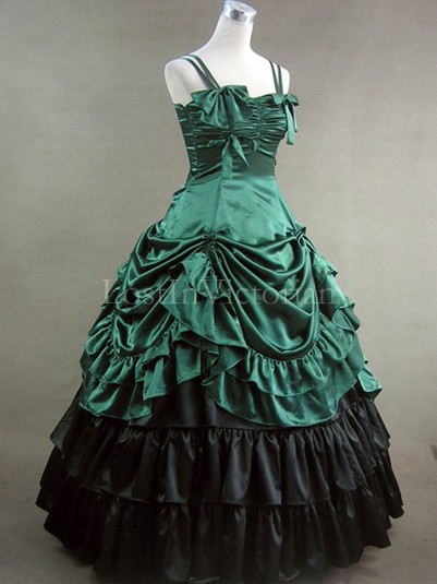 Green and Black Victorian Inspired Dress Masquerade Gothic Ball Gowns
