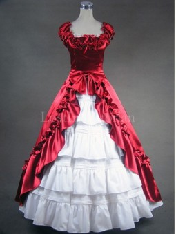 Red and White Colonial Inspired Victorian Dress Ball Gown Vintage Wedding Bridesmaid Dress