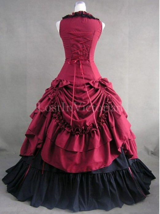 Burgundy and Black Victorian Inspired Dress Masquerade Gothic Ball Gowns
