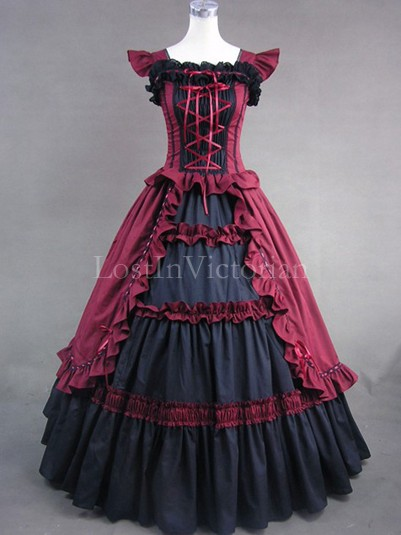Burgundy and Black Gothic Victorian Dress Ball Gown Women Halloween Party Costume