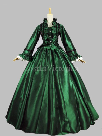 Historical 19th Century Victorian Civil War Period Dress Theatre Reenactment Clothing GREEN