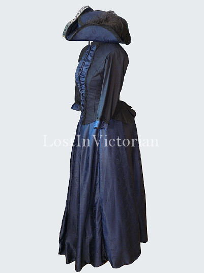 Historical 19th Century Victorian Bustle Dress Navy Blue and Black