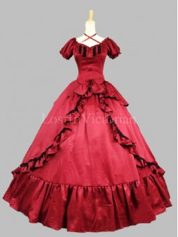 Historical 19th Century Red Satin Victorian Civil War Ball Gown Shouthern Belle Dress
