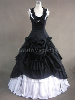 Black and White Civil War Southern Belle Dress Ball Gown Halloween Gothic Party Dress