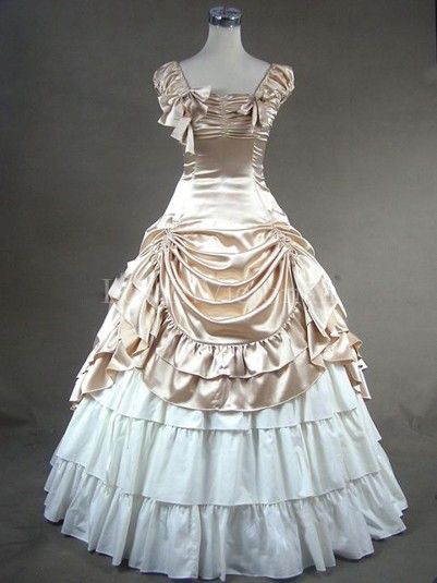 Champagne and White Victorian Civil War Southern Belle Dress Ball Gown Vintage Wedding Bridesmaid Dress