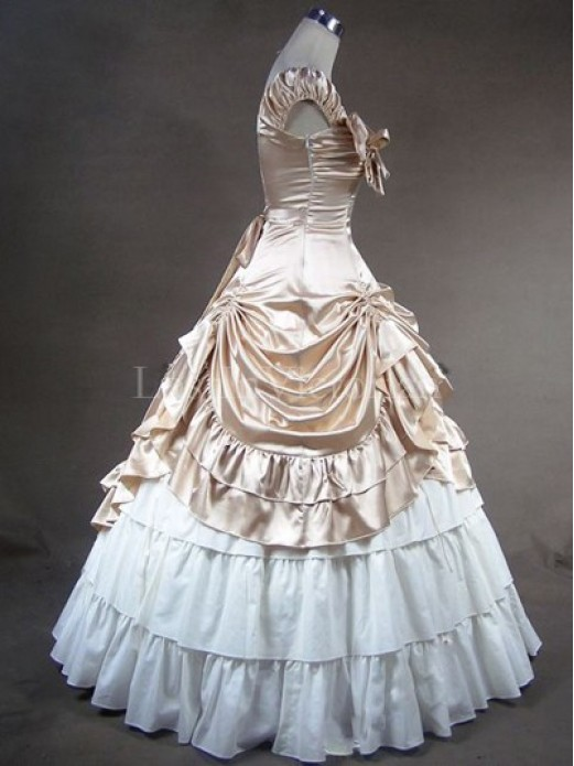 Champagne and White Victorian Civil War Southern Belle Dress Ball ...