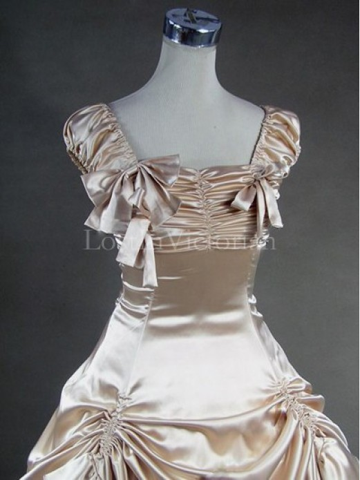 Champagne and white victorian civil war southern belle for White and champagne wedding dress