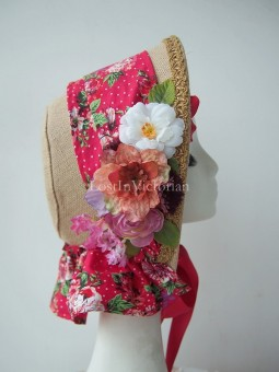 Ladies Victorian Ear Linen Bonnet with Flowers