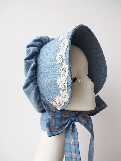 Ladies Victorian Ear Bonnet with Plaid Ribbon