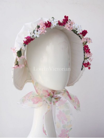 19th Century Victorian Lace Bonnet Trimmed with Flowers