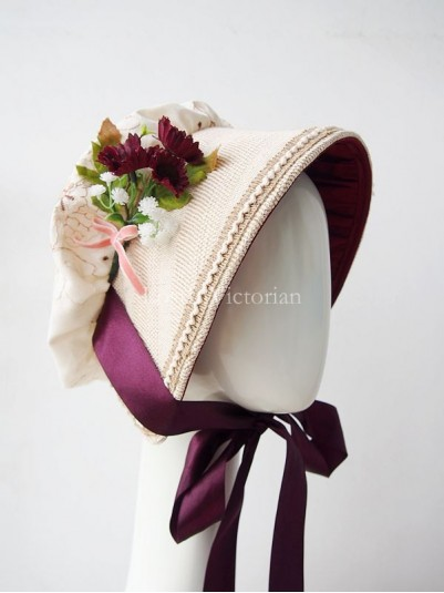 British Rural Style Vintage Cotton & Linen Victorian Bonnet