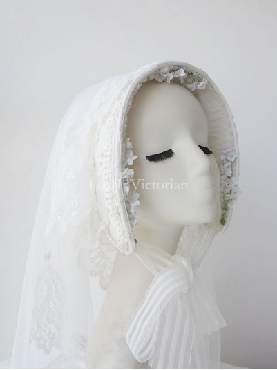 Ladies Victorian Ear Pure White Bridal Bonnet